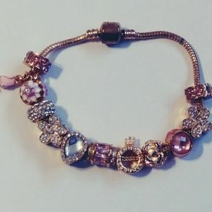 Pretty in Pink rose gold charm bracelet.